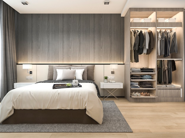 3 dレンダリング高級モダンなベッドルームスイート、ワードローブ付きホテル、ウォークインクローゼット