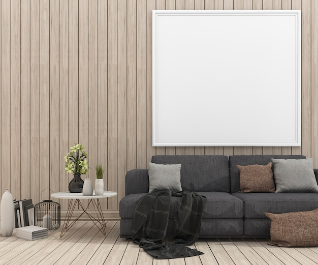 木製のリビングルームでモックアップ額縁と3 dレンダリング素敵なソファ