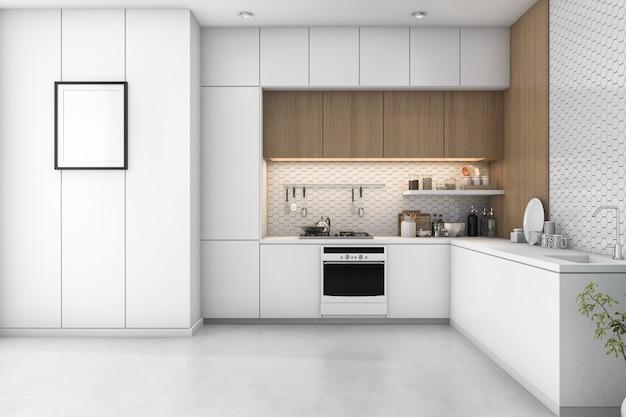 木製の装飾と3 dレンダリング白い最小限のキッチン
