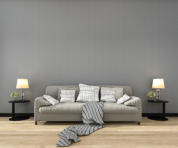 3 dレンダリングのソファ付きのリビングルームでフレームをモックアップ