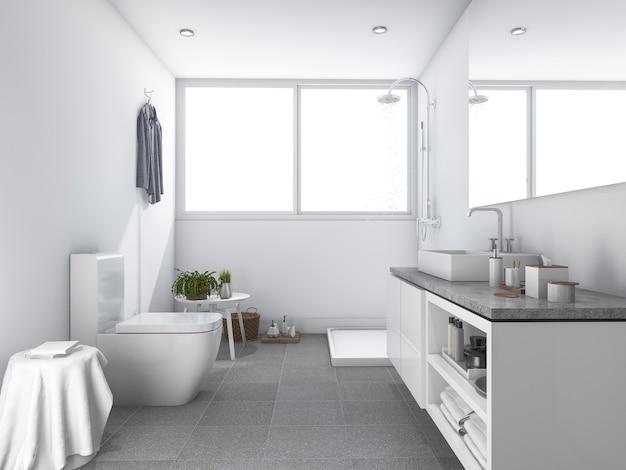 3 dレンダリング明るい白のきれいなトイレとバスルーム