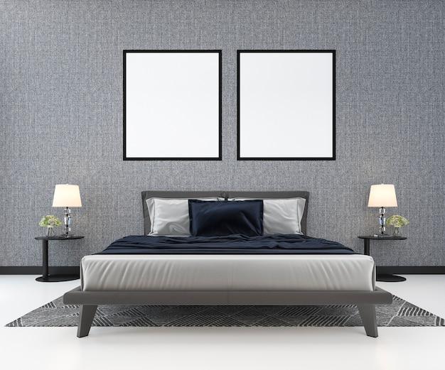 植物と古典的な寝室で3 dレンダリング青い古典的なベッド