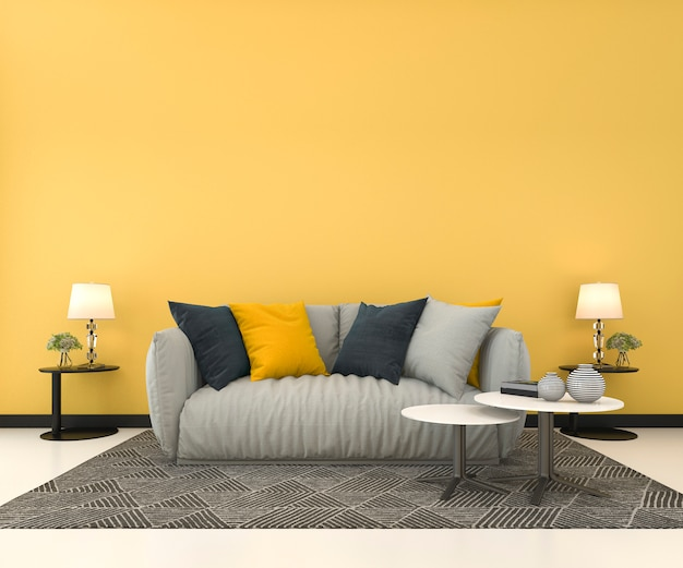 3 dレンダリングのソファー付きのリビングルームで黄色の壁をモックアップ