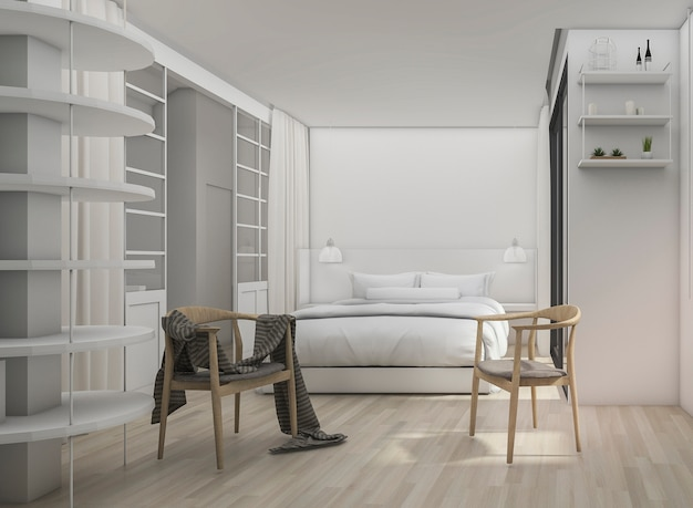 スカンジナビアの椅子と3 dレンダリングホワイト清潔でモダンなベッドルーム