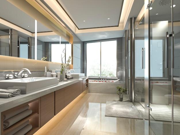 窓からの素晴らしい自然の景色と高級タイルの装飾が施された3 dレンダリングモダンなクラシックバスルーム