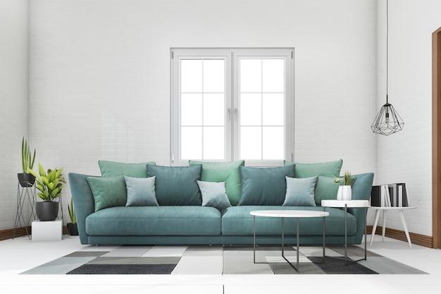 白いレンガのリビングルームの植物と3 dレンダリングの青と緑のソファ