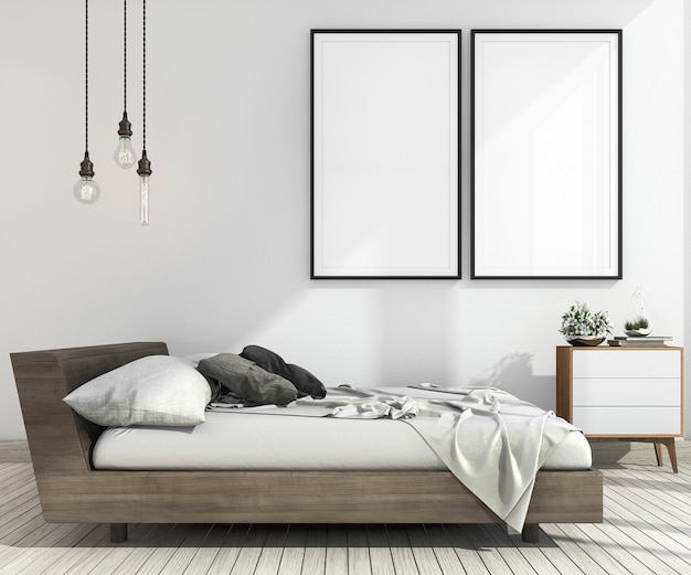 スカンジナビアスタイルの3 dレンダリングビンテージミニマルモックアップベッドルーム