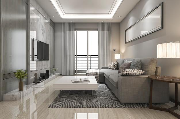 3 dレンダリング豪華でモダンなリビングルーム(布張りのソファー付き)