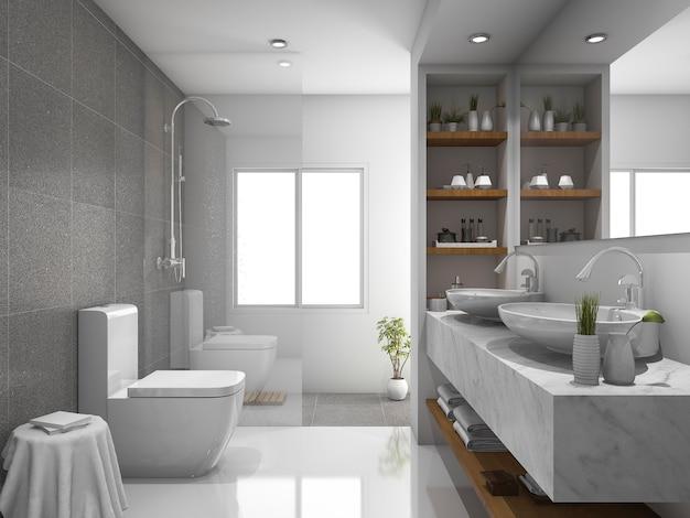 3 dレンダリングのモダンなデザインと大理石のタイルのトイレとバスルーム