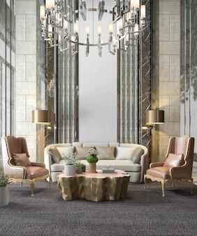 シャンデリアと装飾が施された3 dレンダリングの古典的な高級リビングルーム