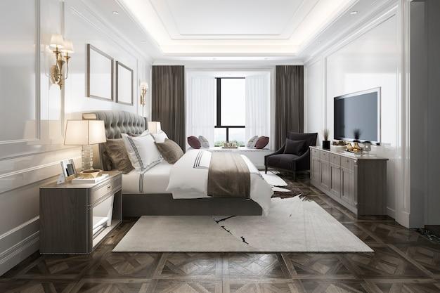 テレビ付きのホテルで3 dレンダリング美しい豪華なベッドルームスイート