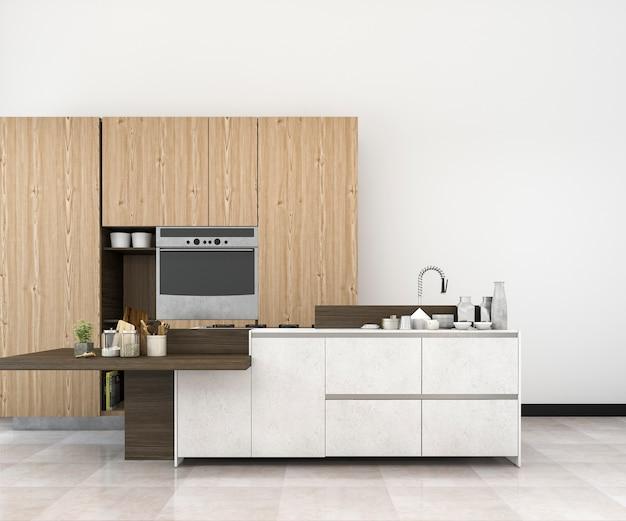 木製の装飾と3 dレンダリング白最小限モックアップロフトキッチン