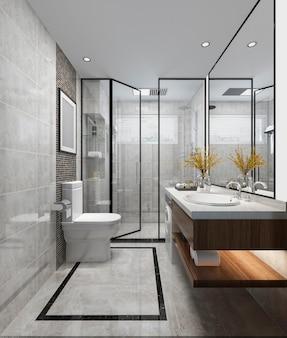 3 dレンダリング高級モダンなデザインのバスルームとトイレ