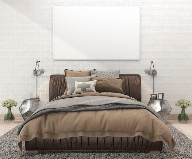 レンガの壁とカーペットの寝室で3 dレンダリングレトロな茶色のベッド