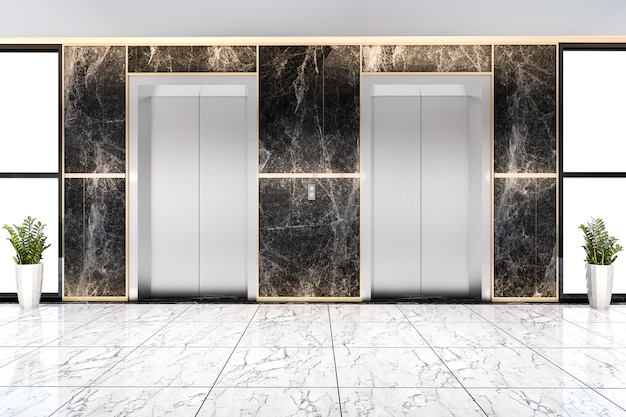豪華なビジネスホテルの3 dレンダリングモダンなスチールエレベーターリフトロビー