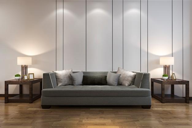 3 dレンダリングは、中国風のソファー付きのリビングルームの木製の装飾を模擬