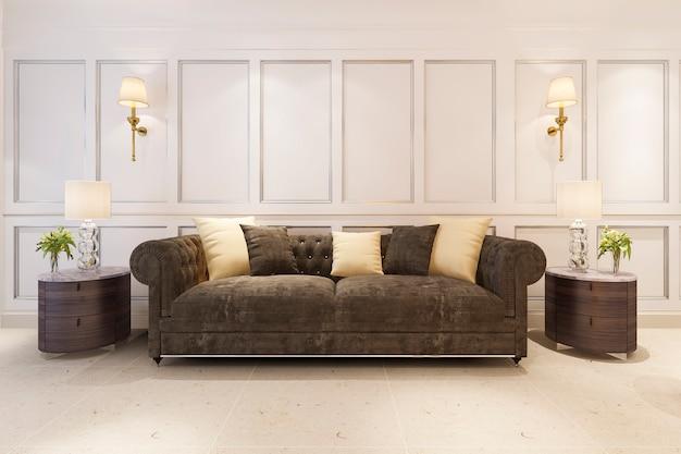 3 dレンダリングは、ソファ付きの古典的なスカンジナビアスタイルのリビングルームをモックアップします。