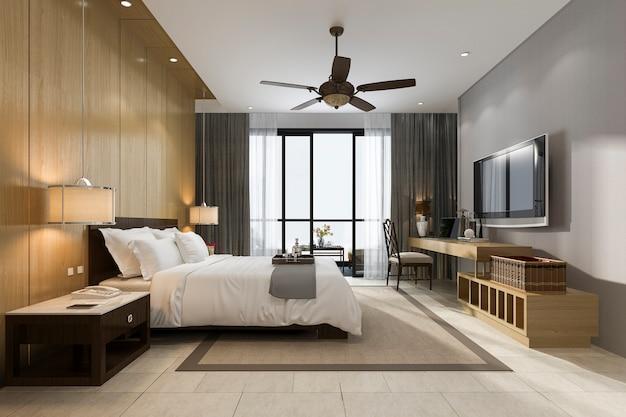 リゾートホテルとリゾートの3 dレンダリングの豪華な熱帯のベッドルームスイート