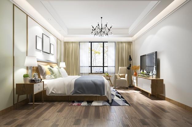 テレビとホテルの3 dレンダリングの美しい豪華なベッドルームスイート