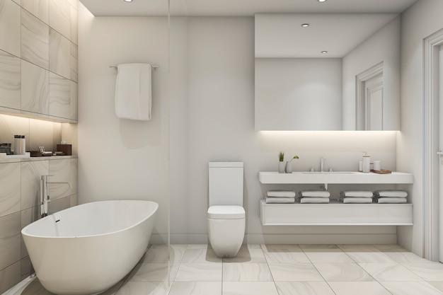 3 dレンダリングの白いタイル大理石の豪華なバスルーム