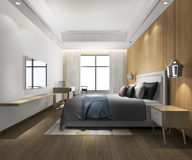 テレビと作業テーブルとホテルの3 dレンダリングの美しい最小限の寝室スイート