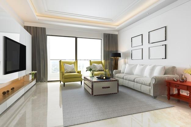 赤いテーブル黄色のソファと3 dレンダリングヴィンテージのリビングルーム