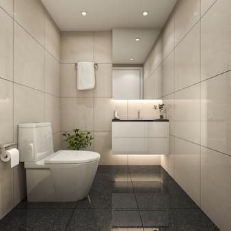 3 dレンダリングモダンな最小限のトイレとシャワー