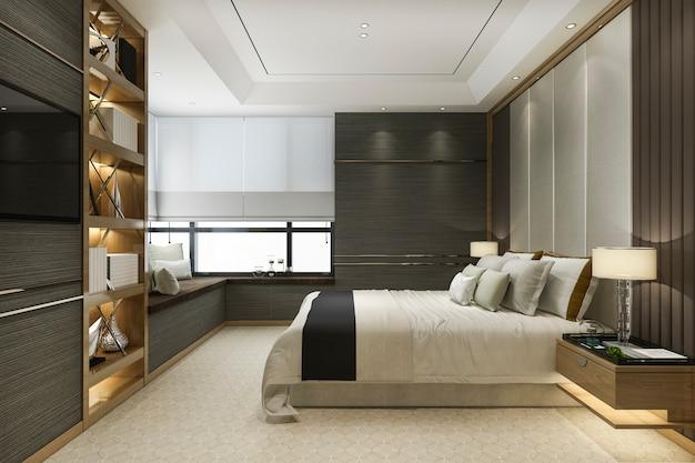 本棚とクッション付きの3 dレンダリング木製モダンで豪華なベッドルームスイート
