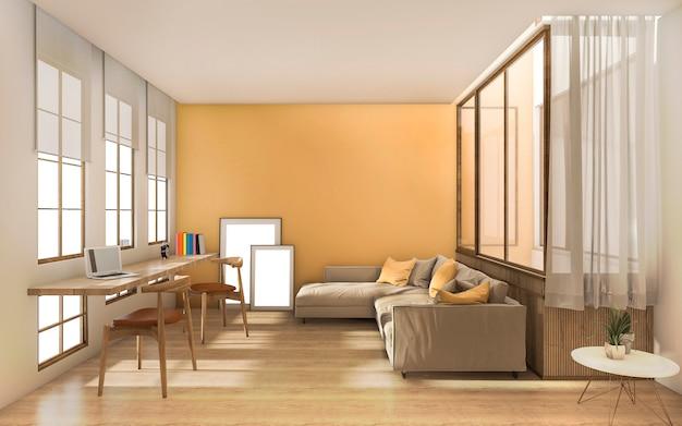 窓からの日光と3 dレンダリング黄色モダンなリビングルーム