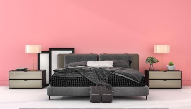 3 dレンダリングヴィンテージピンクミニマルスタイルの寝室のモックアップ
