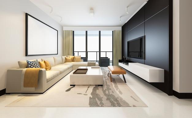 フレーム付きの布製ソファ付きの3 dレンダリングの豪華でモダンなリビングルーム