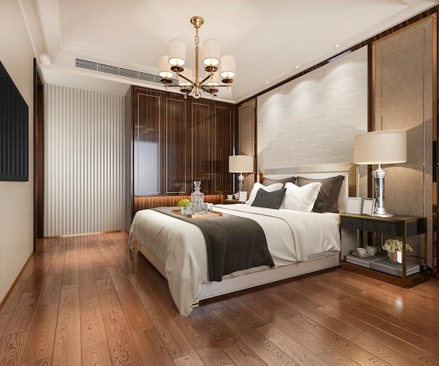 ワードローブとクローゼットの中を歩くホテルの3 dレンダリングの豪華なモダンなベッドルームスイート