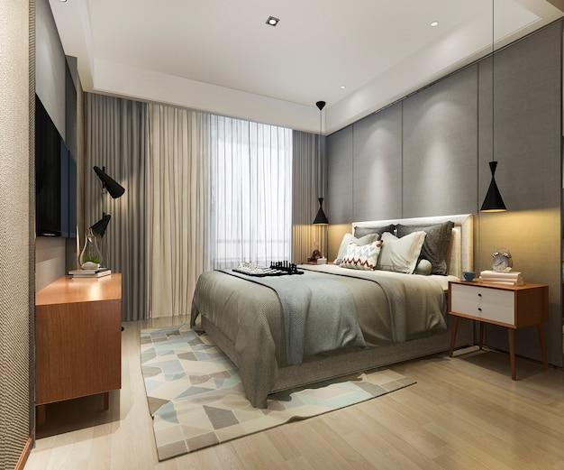 3 dレンダリングの美しいロフトミニマルヴィンテージ寝室