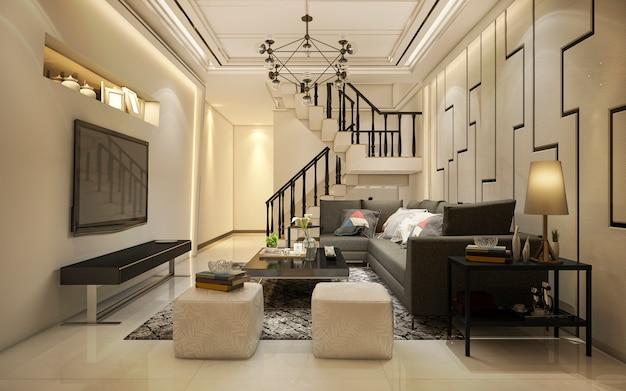 階段の近くの3 dレンダリングヴィンテージ暖かいトーン木製リビングルーム