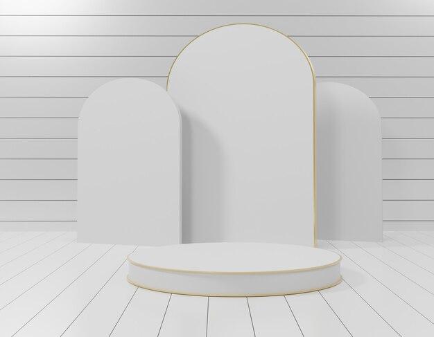 3 dの抽象的な最小限の幾何学的形態。あなたのデザインのための光沢のある豪華な表彰台。ショー製品のパステルカラーのシーン。ファッションショーステージ