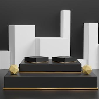 シンプルな黒のテーマの背景。 3 dの抽象的な最小限の幾何学的形態。あなたのデザインのための光沢のある豪華な表彰台。