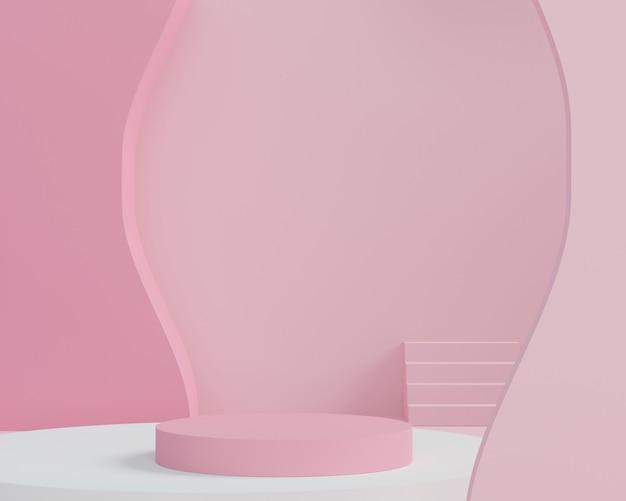 3 dの抽象的な最小限の幾何学的形態。あなたのデザインのための光沢のある豪華な表彰台。カラフルなテーマのファッションショーのステージ、台座、店先。