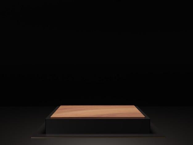 シンプルな黒のテーマの背景。 3 dの抽象的な最小限の幾何学的形態。光沢のある豪華な表彰台
