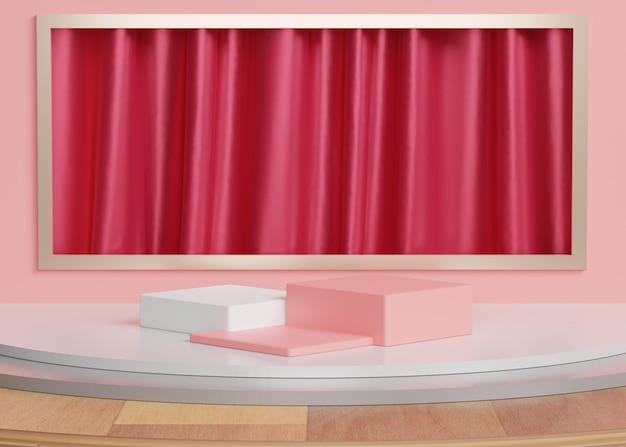 3 dの抽象的な最小限の幾何学的形態。あなたのデザインのための光沢のある豪華な表彰台。ファッションショーのステージまたはカーテンの背景を持つ台座。