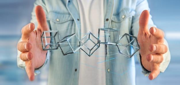 分離された3 dレンダリングブロックチェーンキューブを抱きかかえた