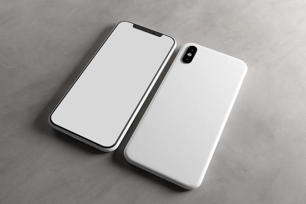 スマートフォンの画面とケースのモックアップ、3 dレンダリング