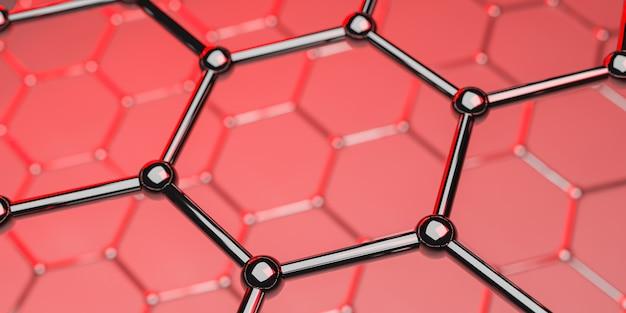 赤 -  3 dレンダリングのグラフェン分子ナノテクノロジー構造