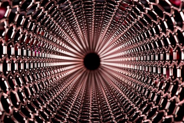 赤い背景-3 dレンダリングのグラフェン分子ナノ技術構造