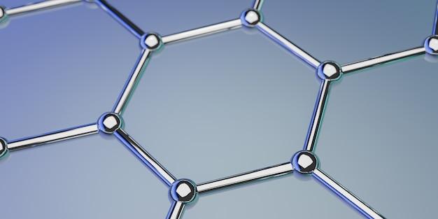 青色の背景-3 dレンダリングのグラフェン分子ナノ技術構造
