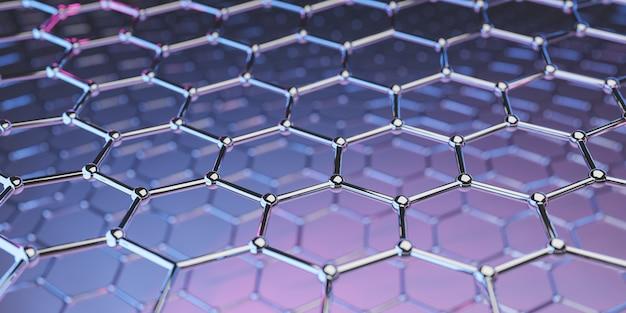 紫ピンクのグラフェン分子ナノ技術構造-3 dレンダリング