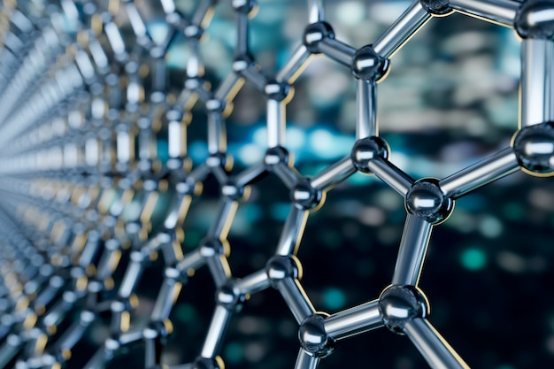 青色の背景 -  3 dレンダリングのグラフェン分子ナノテクノロジー構造の表示