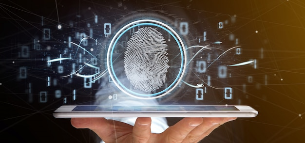 デジタル指紋識別バイナリコード3 dレンダリングを保持している実業家