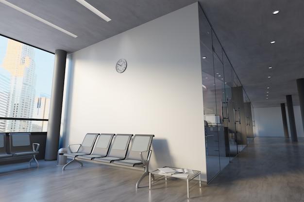 ガラス事務室の壁のモックアップ -  3 dレンダリング