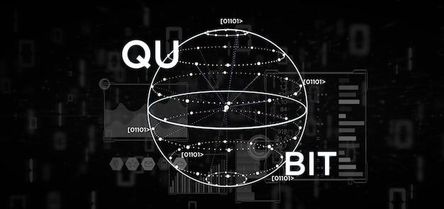 量子ビットアイコン3 dレンダリングと量子コンピューティングの概念