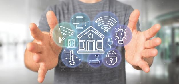 アイコン、統計およびデータの3 dレンダリングとスマートホームインターフェイスを保持している実業家